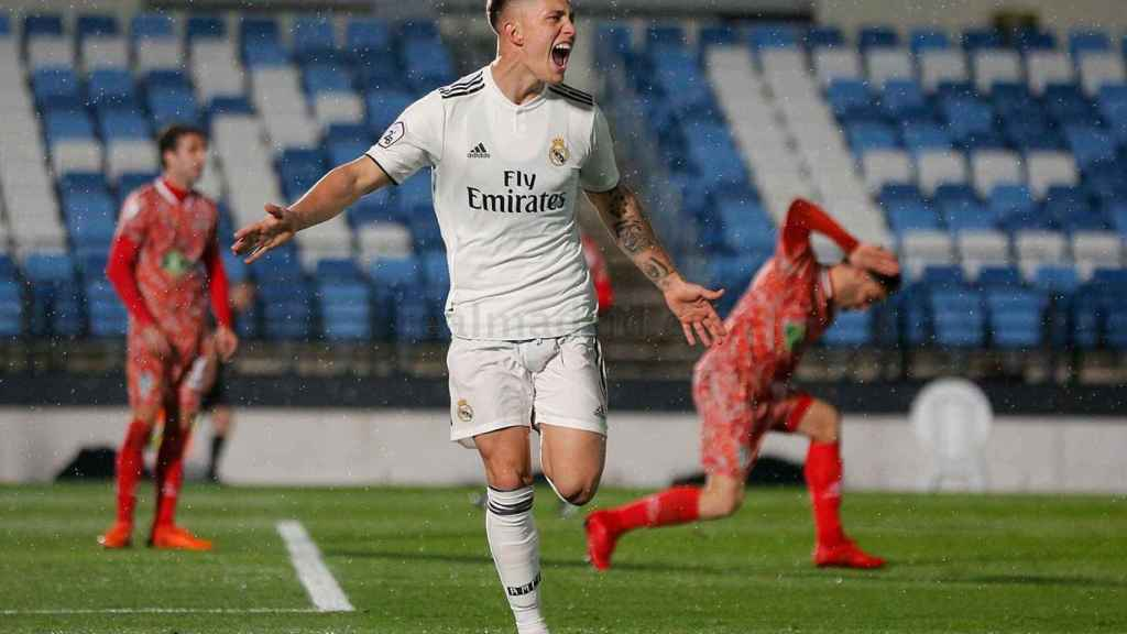 Cristo celebra el gol de la victoria del Castilla