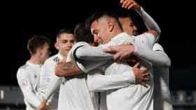 Los jugadores del Castilla celebran un gol en el Alfredo Di Stéfano