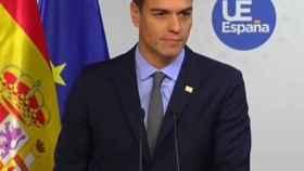 Pedro Sánchez, en su comparecencia tras el Consejo Europeo extraordinario en Bruselas.
