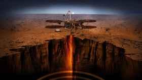 Ilustración del módulo de aterrizaje InSight investigando las profundidades de Marte.