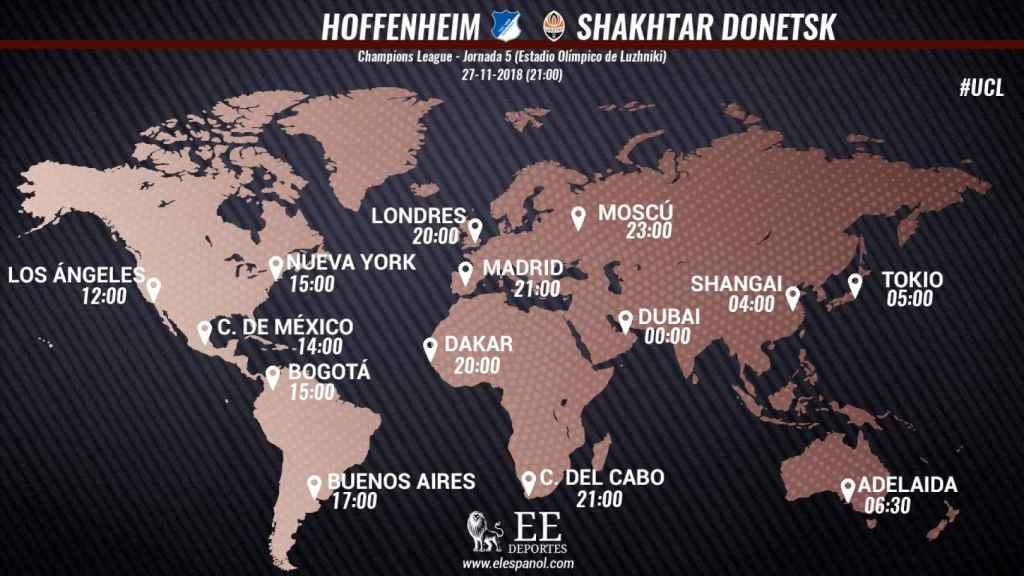 Horario internacional y dónde ver Hoffenheim - Shakhtar