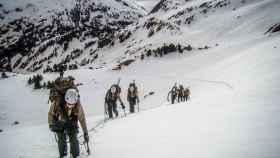 Los militares destinados a la misión, en un entrenamiento en el Pirineo Oscense.