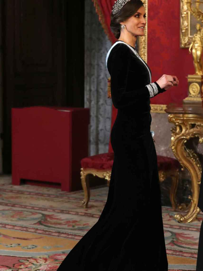Letizia se puso sus mejores galas y rescató la corona de reinas para la gran cena.