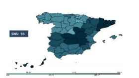 El mapa de España de las listas de espera quirúrgicas.