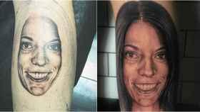 En la imagen, el tatuaje del rostro de Diana Quer que su hermana se ha tatuado en el gemelo.