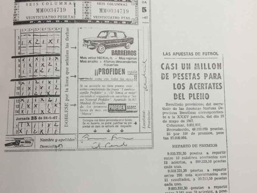 El boleto premiado de la quiniela de Franco, impreso en el libro de Rogelio Baon, 'La cara humana de un caudillo'.