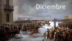 La sublevación del 14 de diciembre de 1825 en la Plaza del Senado de San Petersburgo. Cuadro de Georg Wilhelm Timm.