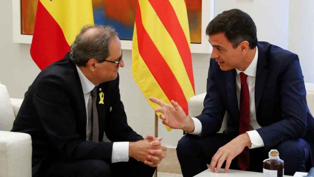 Pedro Sánchez y Quim Torra durante un encuentro en La Moncloa.