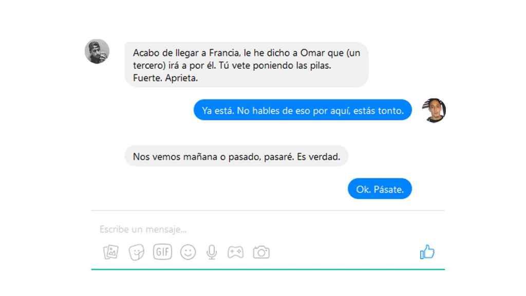 Reconstrucción de la conversación vía chat entre los terroristas