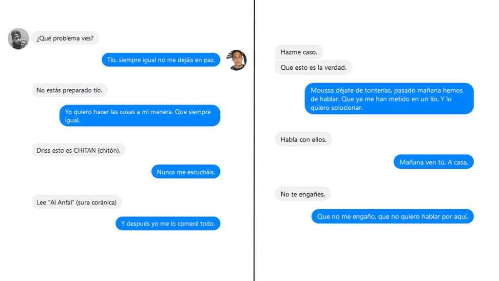 Montaje con la conversación registrada entre ambos yihadistas
