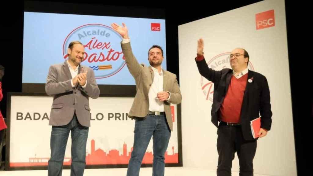 José Luis Ábalos y Miquel Iceta junto al aocialista Álex Pastor en Badalona