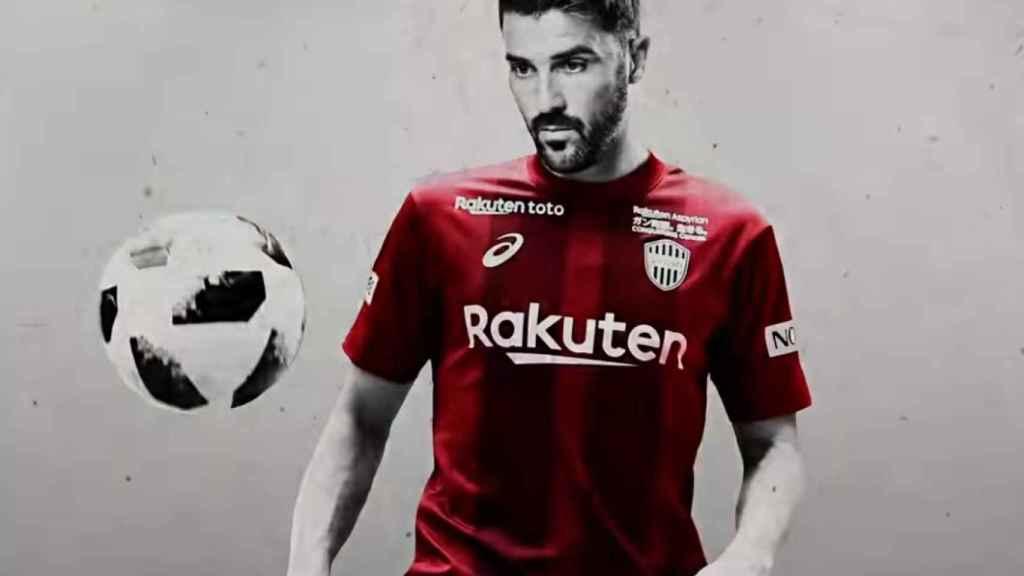 David Villa, con su la camiseta del Vissel Kobe