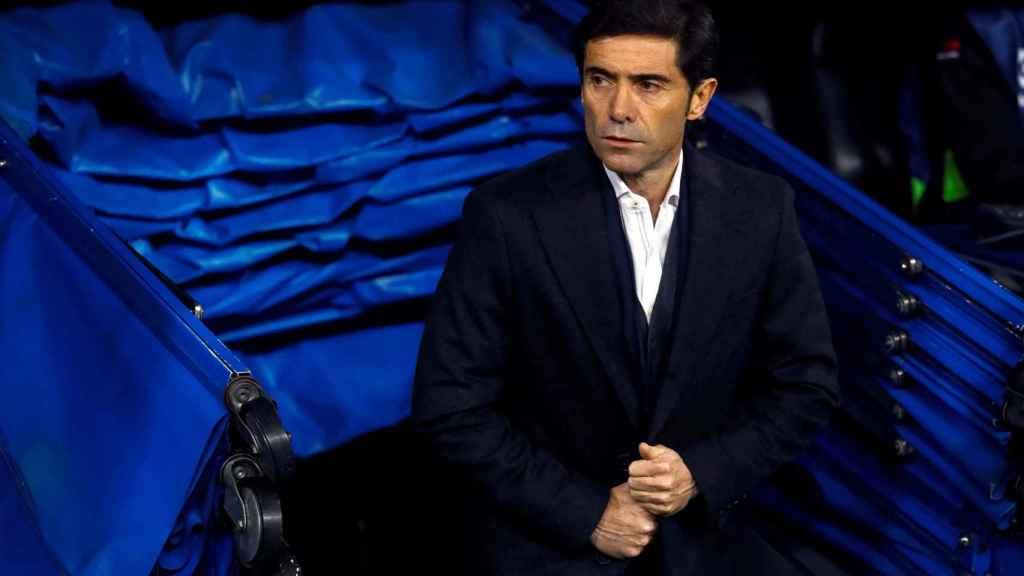 El técnico del Valencia, Marcelino, antes del inicio del encuentro
