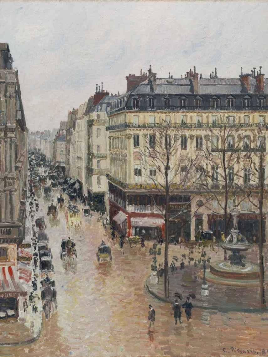 'Rue Saint-Honoré por la tarde. Efecto de lluvia'. Camille Pissarro.
