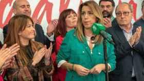 Susana Díaz, en Sevilla tras conocer los resultados de las elecciones.