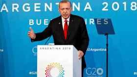 Erdogan, durante la conferencia de prensa en la la Cumbre del G20 en Buenos Aires.