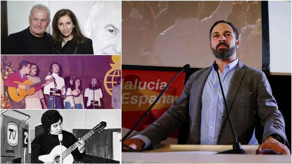 Victor Manuel y Ana Belén, Jarcha y Víctor Jara, en la columna de la izquierda; y Santi Abascal, líder de Vox.