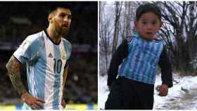 Messi y Murtaza, el pequeño que se ha visto obligado a huir por la guerra.