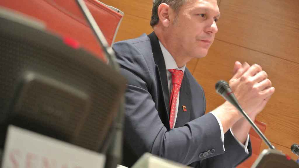 El presidente del Tribunal Supremo de Venezuela en el exterior, Miguel Ángel Martín, durante su comparecencia en el Senado.