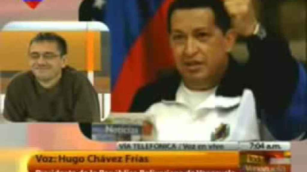 Una de las conexiones televisivas entre Hugo Chávez y Juan Carlos Monedero en Venevisión.