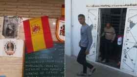 A la izquierda, varias imágenes de Franco y banderas españolas tras la barra de un bar. A la derecha, musulmanes saliendo de la mezquita de Las Norias, una barriada de El Ejido (Almería).