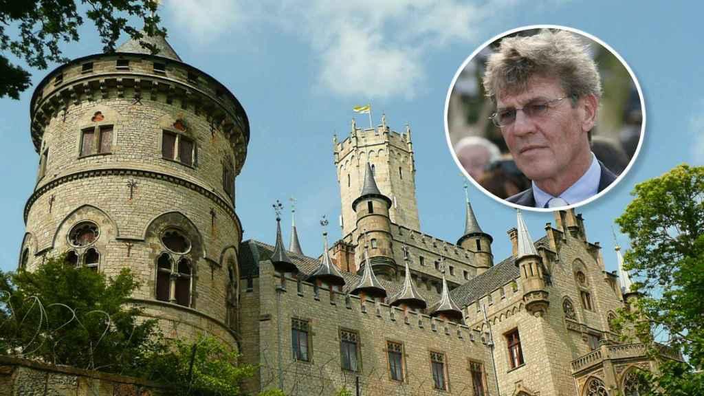 Ernesto de Hannover en un montaje con el castillo.