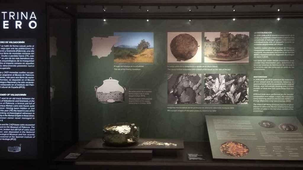 Vitrina del Museo Arqueológico Nacional donde está expuesto el Tesoro de Valsadornín.