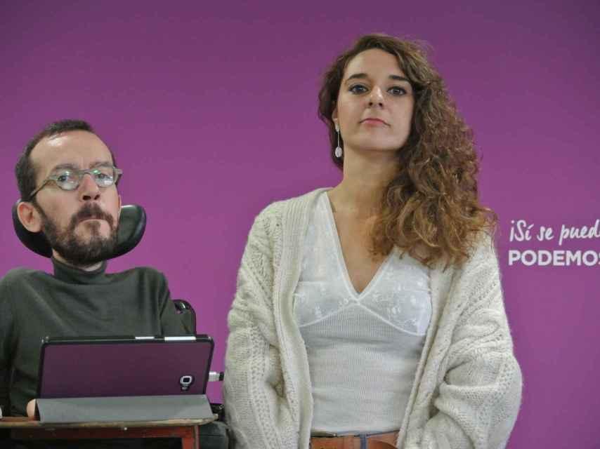 Pablo Echenique y Noelia Vera, tras la reunión del Consejo de dirección de Podemos.