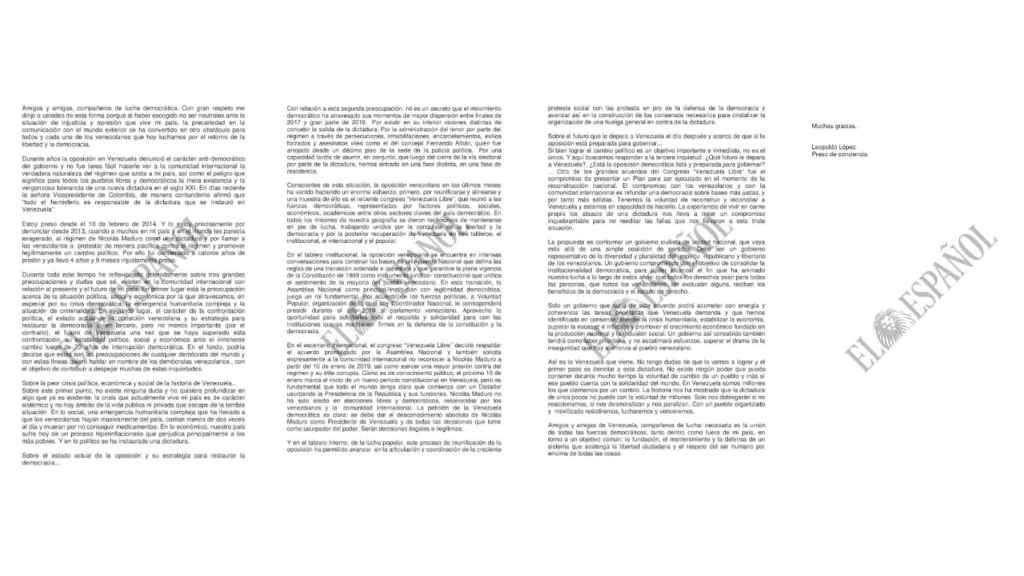 Carta de Leopoldo López a la comunidad internacional.