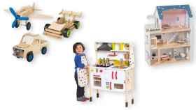 Algunos de los juguetes de madera que incluye Lidl en su catálogo de regalos de Navidad