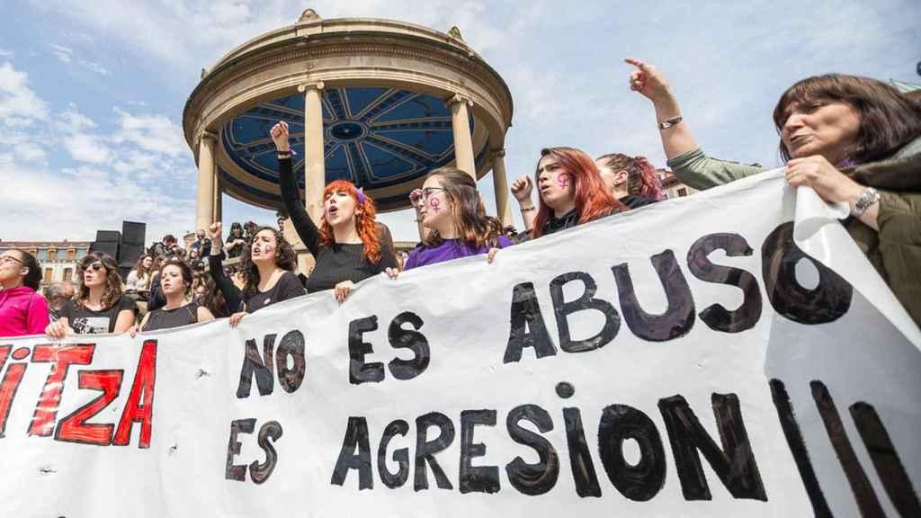 Manifestación en Pamplona tras conocerse la sentencia de 'La Manada'.