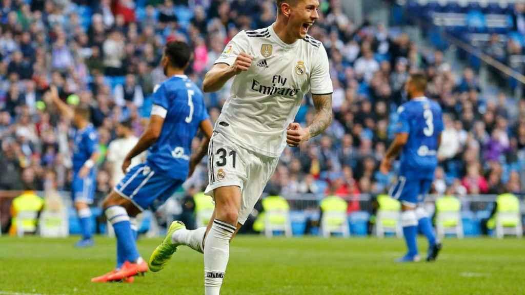 Javi Sánchez celebra un gol