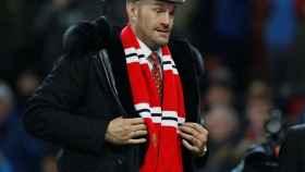 Tyson Fury, con la bufanda del Manchester United.