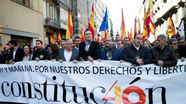 Manifestación en Barcelona por el 40 aniversario de la Constitución.