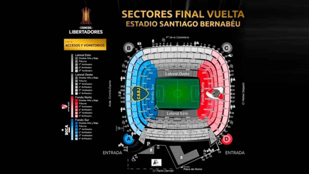 Así se distribuirán las butacas en el River - Boca. Foto: CONMEBOL.