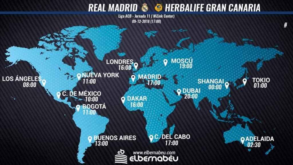 HORARIO INTERNACIONAL REAL MADRID - CLUB BALONCESTO GRAN CANARIA