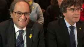 Quim Torra y Carles Puigdemont en la presentación del llamado 'Consell de la república' ne Bruselas.