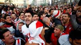 Seguidores de River Plate antes de la final de la Libertadores