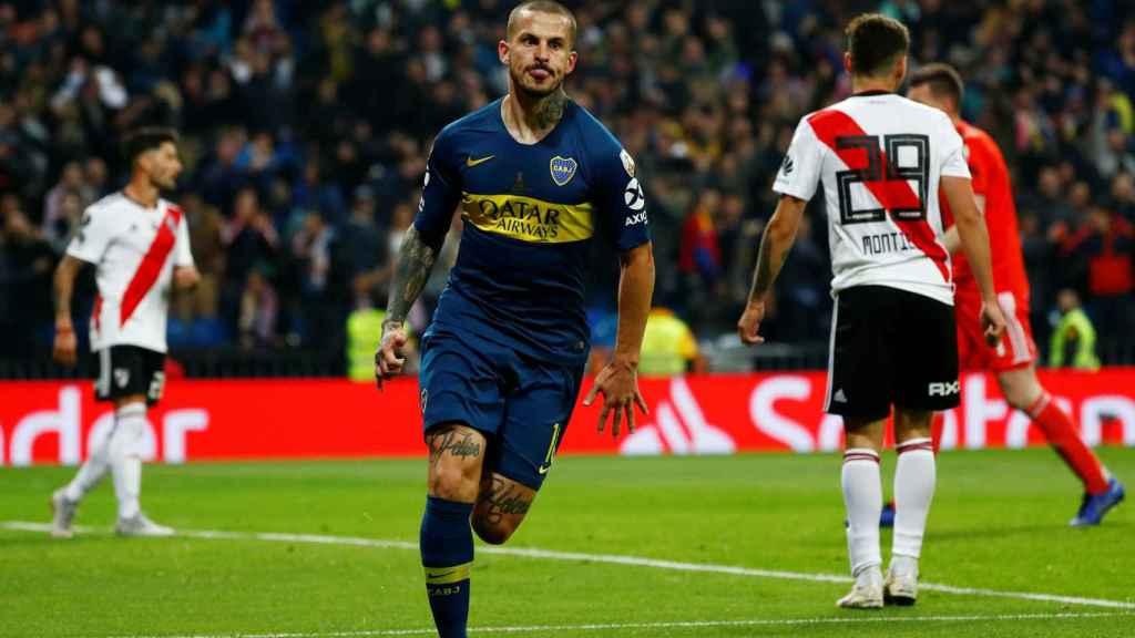 Benedetto celebra el 1-0 en la final de la Libertadores.