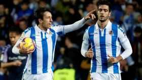 Oyarzabal celebra su gol con la Real Sociedad