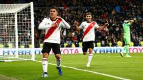 Palacios y Juan Fernando Quintero celebrando un gol