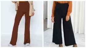 Varios pantalones de punto en un montaje de JALEOS.