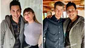 Aitana y Miguel Bernardeau con un fan en Ibiza en un montaje JALEOS