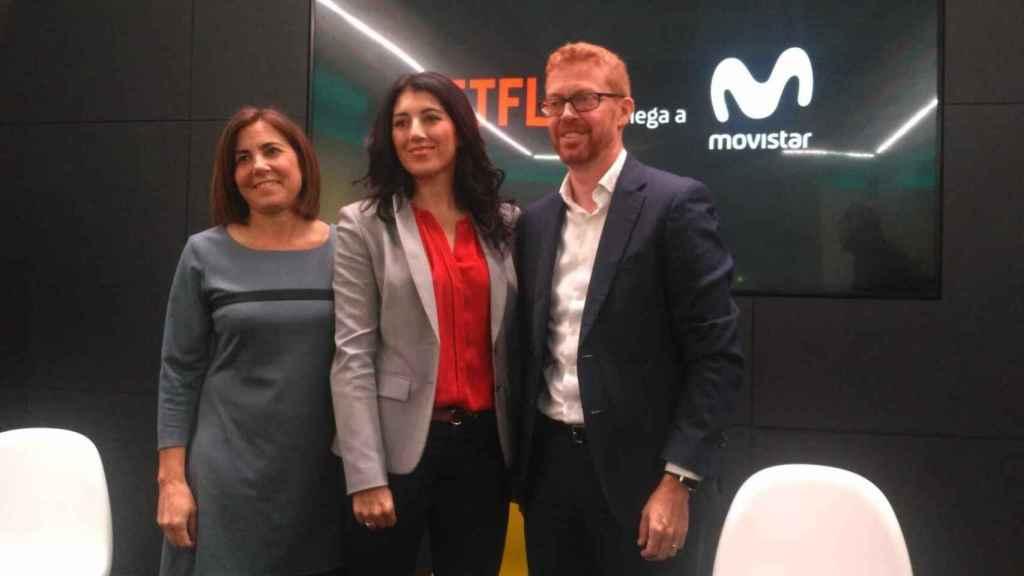 María Jesús Almazor (Telefónica), María Ferreras (Netflix), Sergio Oslé (Movistar +).