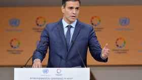 Sánchez durante su intervención este lunes en Marrakech
