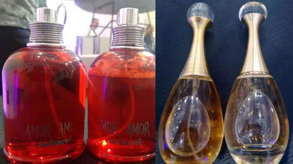 A la izquierda, el perfume falso, donde se ve la cánula; a la derecha, el verdadero, de otro color