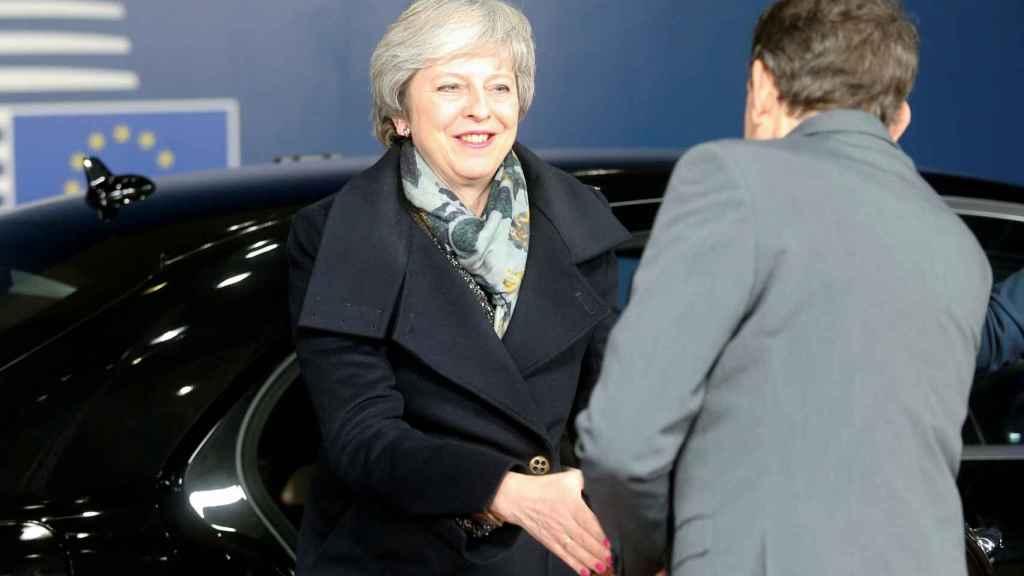 May, a su llegada a la sede del Consejo  Europeo en Bruselas
