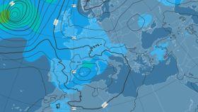Simulación del paso del frente atlántico a las 24.00h del jueves 13.