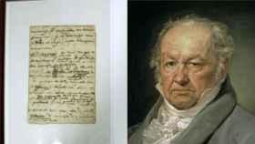La carta de Francisco de Goya a Martín Zapater junto a un retrato del pintor.