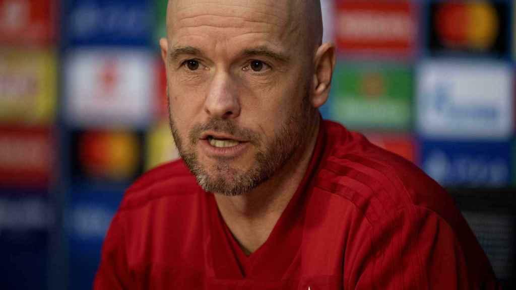 Ten Hag, en una rueda de prensa del Ajax en la Champions